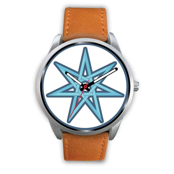 The Elven Star Wiccan Pagan Symbol Custom-Designed Wrist Watch - Mens 40Mm / Brown Leather - Silver Watch