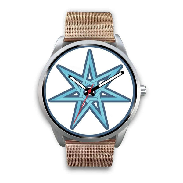 The Elven Star Wiccan Pagan Symbol Custom-Designed Wrist Watch - Mens 40Mm / Rose Gold Metal Mesh - Silver Watch