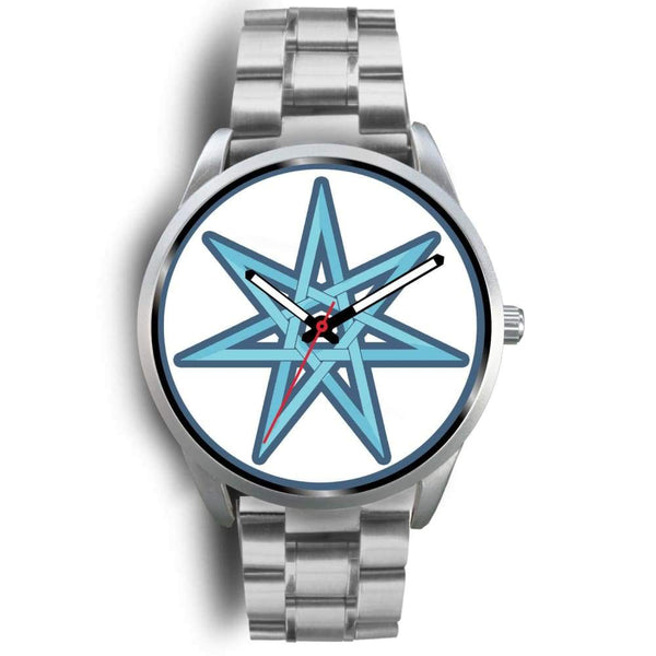 The Elven Star Wiccan Pagan Symbol Custom-Designed Wrist Watch - Mens 40Mm / Silver Metal Link - Silver Watch