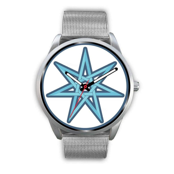 The Elven Star Wiccan Pagan Symbol Custom-Designed Wrist Watch - Mens 40Mm / Silver Metal Mesh - Silver Watch