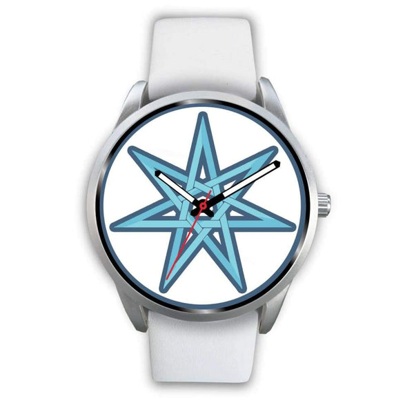 The Elven Star Wiccan Pagan Symbol Custom-Designed Wrist Watch - Mens 40Mm / White Leather - Silver Watch