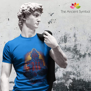 Unisex Heavy Cotton Tee Abstract Sketch Ganesha Spiritual Design T-Shirt. - T-Shirt