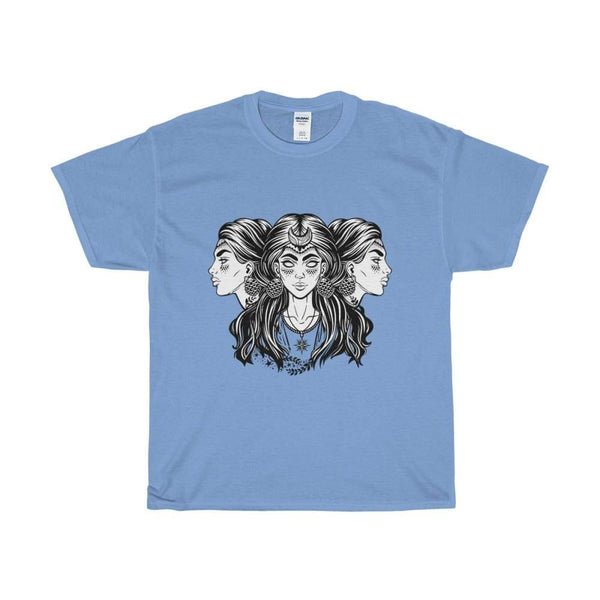 Unisex Heavy Cotton Tee Triple Moon Goddess Wiccan Spiritual T-Shirt - Carolina Blue / S - T-Shirt