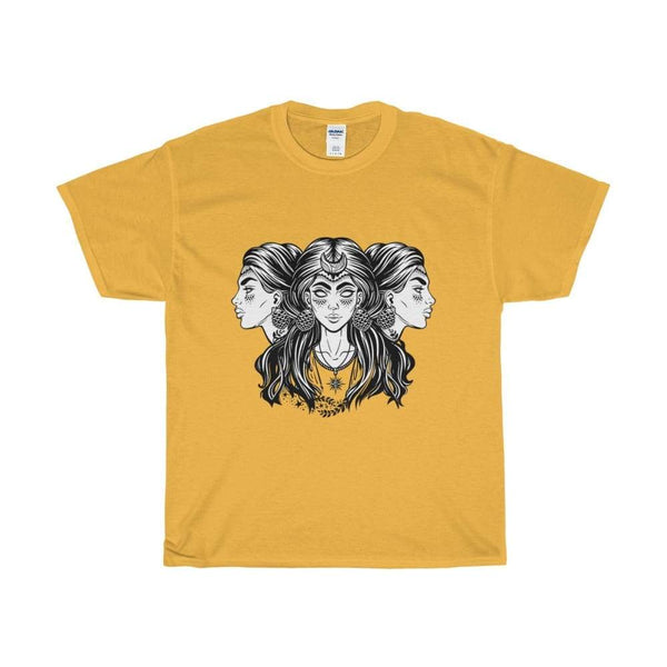 Unisex Heavy Cotton Tee Triple Moon Goddess Wiccan Spiritual T-Shirt - Gold / S - T-Shirt
