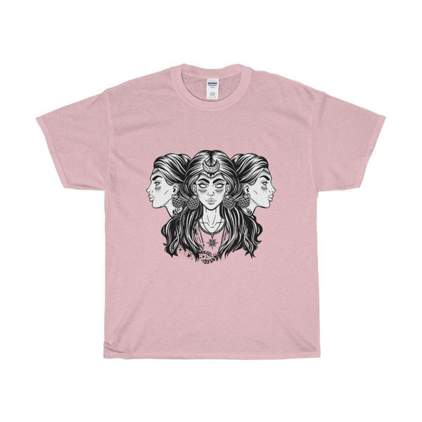 Unisex Heavy Cotton Tee Triple Moon Goddess Wiccan Spiritual T-Shirt - Light Pink / S - T-Shirt