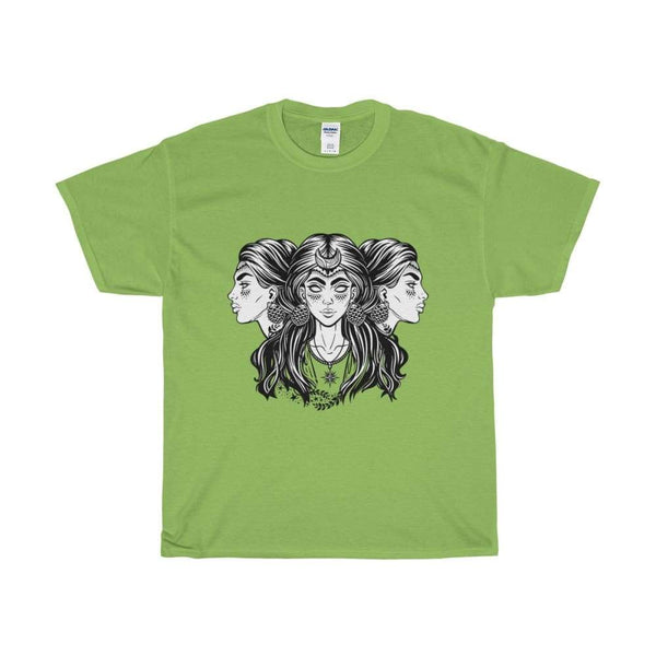 Unisex Heavy Cotton Tee Triple Moon Goddess Wiccan Spiritual T-Shirt - Lime / S - T-Shirt