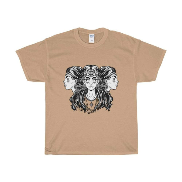 Unisex Heavy Cotton Tee Triple Moon Goddess Wiccan Spiritual T-Shirt - Old Gold / S - T-Shirt