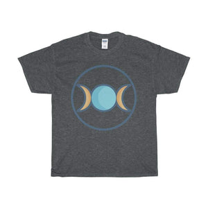 Unisex Heavy Cotton Tee Triple Moon Goddess Wiccan Symbol T-Shirt - Dark Heather / L - T-Shirt