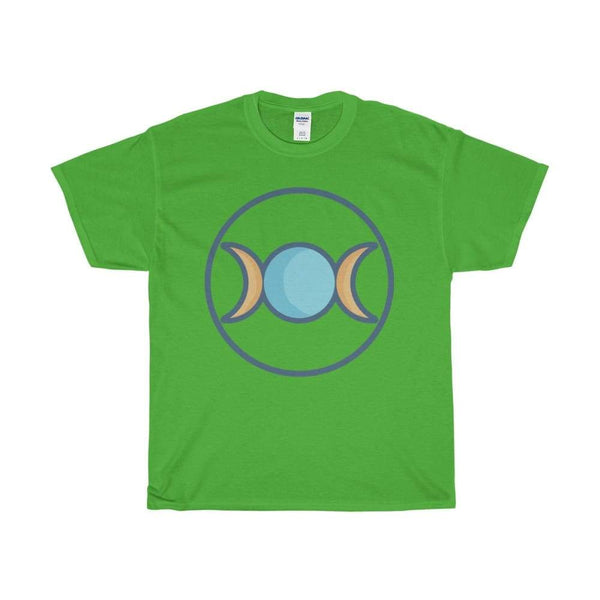 Unisex Heavy Cotton Tee Triple Moon Goddess Wiccan Symbol T-Shirt - Electric Green / S - T-Shirt
