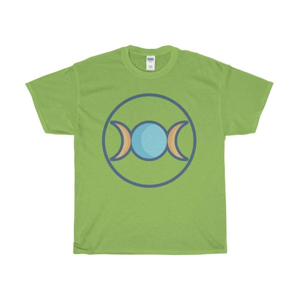 Unisex Heavy Cotton Tee Triple Moon Goddess Wiccan Symbol T-Shirt - Lime / S - T-Shirt