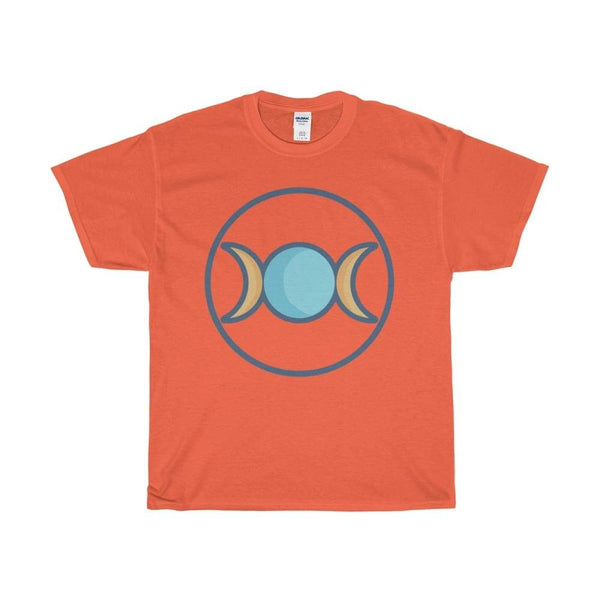 Unisex Heavy Cotton Tee Triple Moon Goddess Wiccan Symbol T-Shirt - Orange / S - T-Shirt