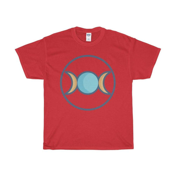 Unisex Heavy Cotton Tee Triple Moon Goddess Wiccan Symbol T-Shirt - Red / S - T-Shirt