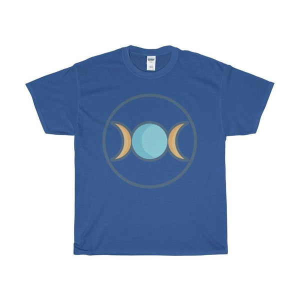 Unisex Heavy Cotton Tee Triple Moon Goddess Wiccan Symbol T-Shirt - Royal / S - T-Shirt
