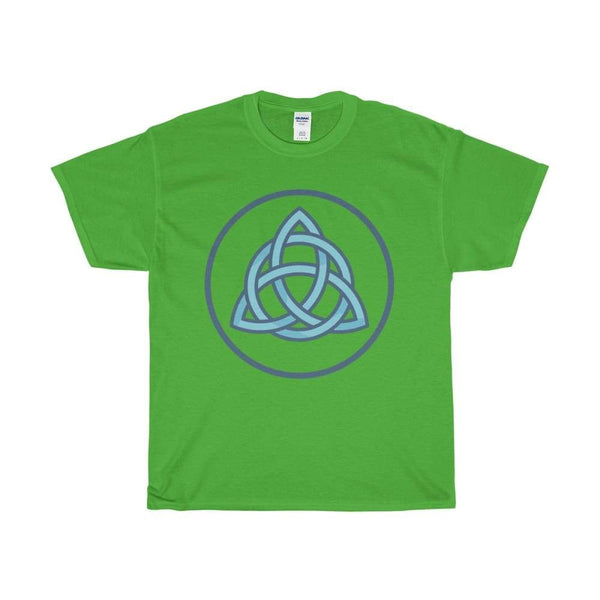 Unisex Heavy Cotton Tee Triquetra Spiritual Symbol T-Shirt - Electric Green / S - T-Shirt