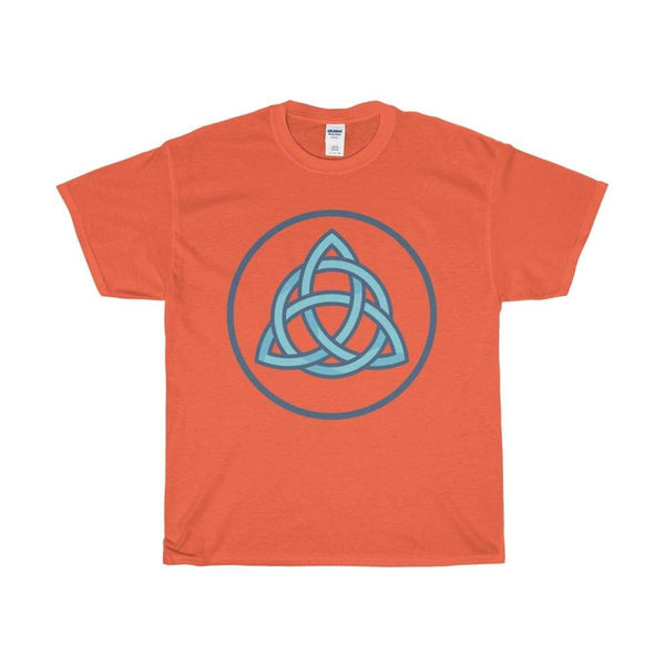 Unisex Heavy Cotton Tee Triquetra Spiritual Symbol T-Shirt - Orange / S - T-Shirt