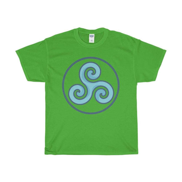 Unisex Heavy Cotton Tee Triskele Triskelion Wiccan Spiritual Symbol T-Shirt - Electric Green / S - T-Shirt