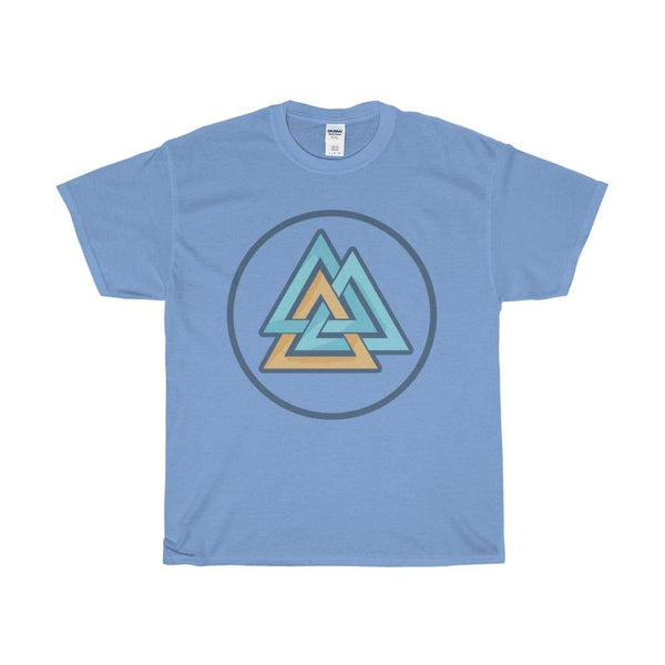 Unisex Heavy Cotton Tee Valknut Wiccan Pagan Spiritual Symbol T-Shirt - Carolina Blue / S - T-Shirt