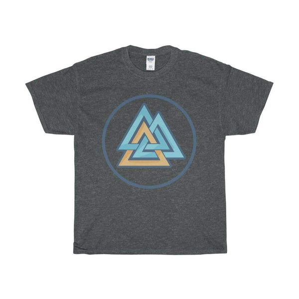 Unisex Heavy Cotton Tee Valknut Wiccan Pagan Spiritual Symbol T-Shirt - Dark Heather / S - T-Shirt