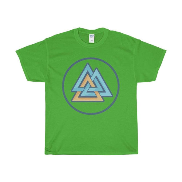 Unisex Heavy Cotton Tee Valknut Wiccan Pagan Spiritual Symbol T-Shirt - Electric Green / S - T-Shirt