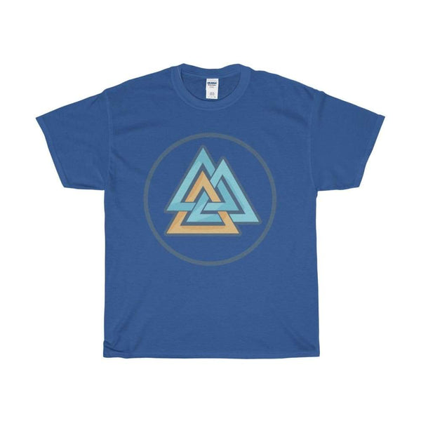 Unisex Heavy Cotton Tee Valknut Wiccan Pagan Spiritual Symbol T-Shirt - Royal / S - T-Shirt