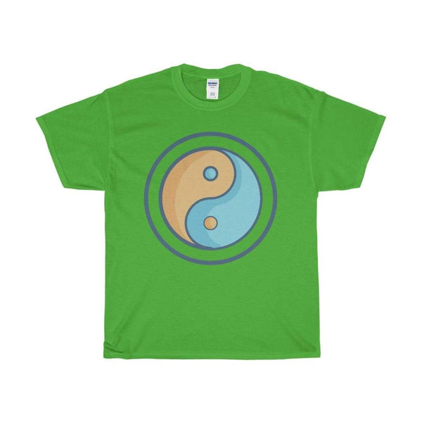 Unisex Heavy Cotton Tee Yin Yang Buddhist Tao Spiritual Symbol T-Shirt - Electric Green / S - T-Shirt