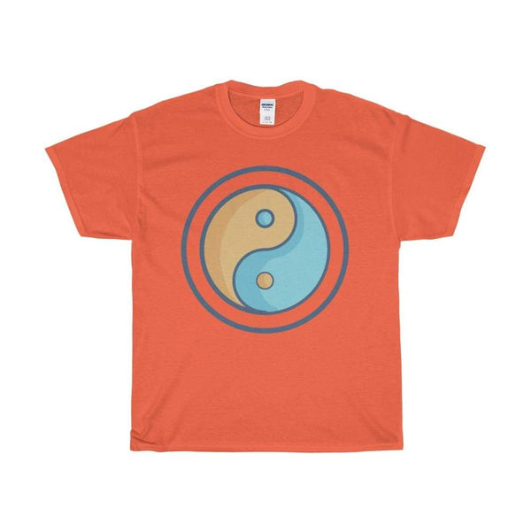 Unisex Heavy Cotton Tee Yin Yang Buddhist Tao Spiritual Symbol T-Shirt - Orange / S - T-Shirt