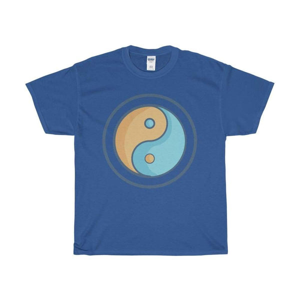 Unisex Heavy Cotton Tee Yin Yang Buddhist Tao Spiritual Symbol T-Shirt - Royal / S - T-Shirt