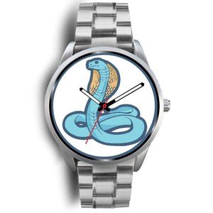 Uraeus Ancient Egyptian Symbol Custom-Designed Wrist Watch - Mens 40Mm / Silver Metal Link - Silver Watch