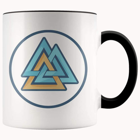 Valknut Pagan Wiccan Symbol 11Oz. Ceramic White Mug - Black - Drinkware