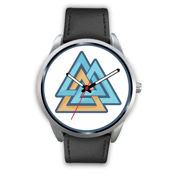 Valknut Pagan Wiccan Symbol Custom-Designed Wrist Watch - Mens 40Mm / Black Leather - Silver Watch