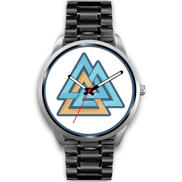 Valknut Pagan Wiccan Symbol Custom-Designed Wrist Watch - Mens 40Mm / Black Metal Link - Silver Watch