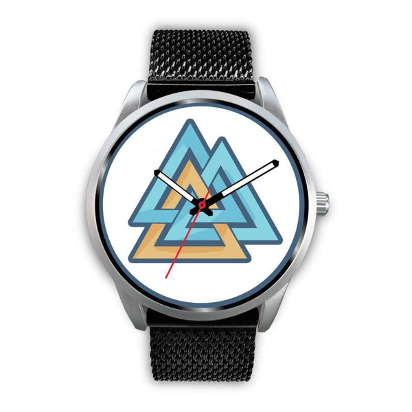 Valknut Pagan Wiccan Symbol Custom-Designed Wrist Watch - Mens 40Mm / Black Metal Mesh - Silver Watch