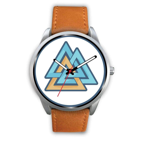 Valknut Pagan Wiccan Symbol Custom-Designed Wrist Watch - Mens 40Mm / Brown Leather - Silver Watch