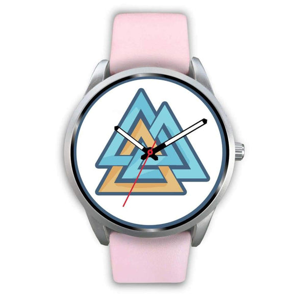 Valknut Pagan Wiccan Symbol Custom-Designed Wrist Watch - Mens 40Mm / Pink Leather - Silver Watch