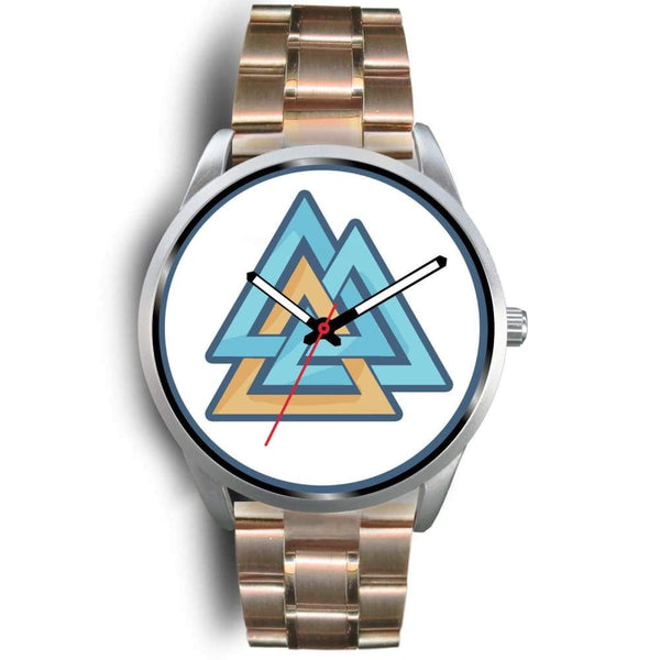 Valknut Pagan Wiccan Symbol Custom-Designed Wrist Watch - Mens 40Mm / Rose Gold Metal Link - Silver Watch
