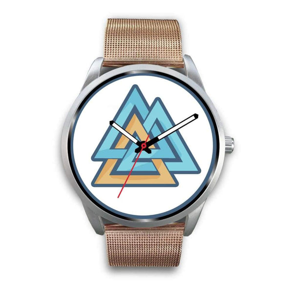 Valknut Pagan Wiccan Symbol Custom-Designed Wrist Watch - Mens 40Mm / Rose Gold Metal Mesh - Silver Watch