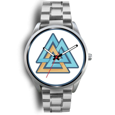 Valknut Pagan Wiccan Symbol Custom-Designed Wrist Watch - Mens 40Mm / Silver Metal Link - Silver Watch