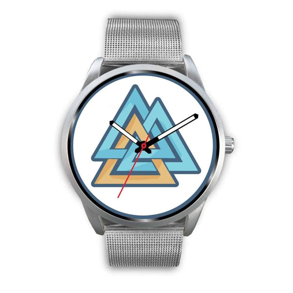 Valknut Pagan Wiccan Symbol Custom-Designed Wrist Watch - Mens 40Mm / Silver Metal Mesh - Silver Watch