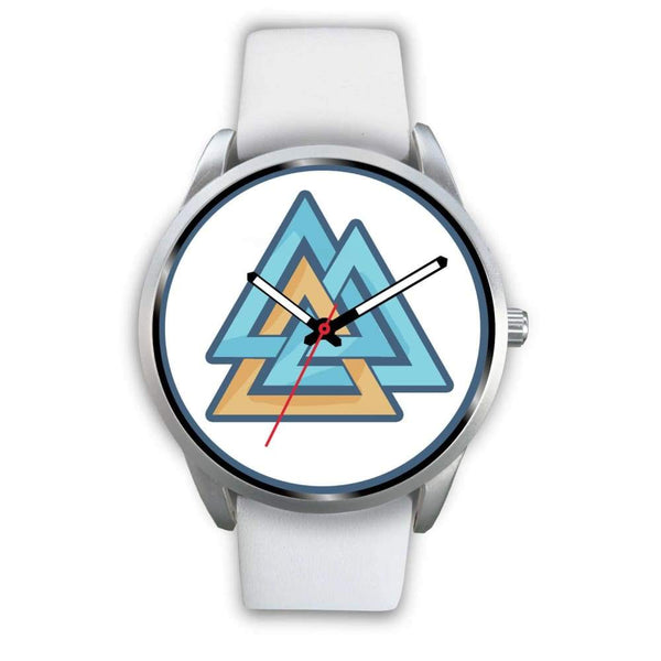 Valknut Pagan Wiccan Symbol Custom-Designed Wrist Watch - Mens 40Mm / White Leather - Silver Watch