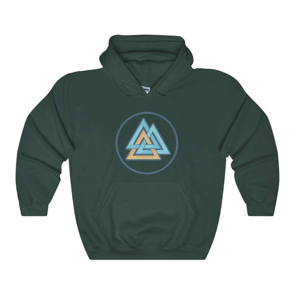 Valknut Wiccan Pagan Spiritual Symbol Unisex Heavy Blend Hooded Sweatshirt - Forest Green / S - Hoodie