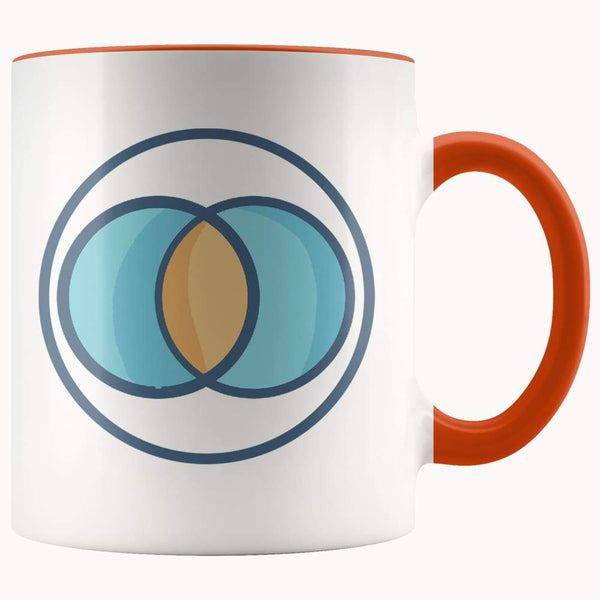 Vesica Piscis Christian Spiritual Symbol 11Oz. Ceramic White Mug - Orange - Drinkware