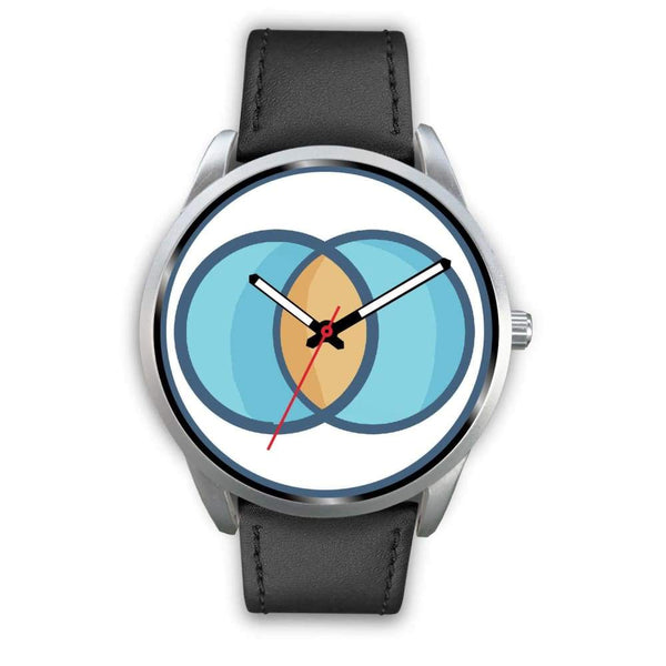Vesica Piscis Christian Symbol Custom-Designed Wrist Watch - Mens 40Mm / Black Leather - Silver Watch