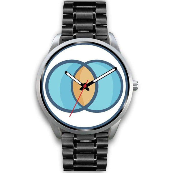 Vesica Piscis Christian Symbol Custom-Designed Wrist Watch - Mens 40Mm / Black Metal Link - Silver Watch