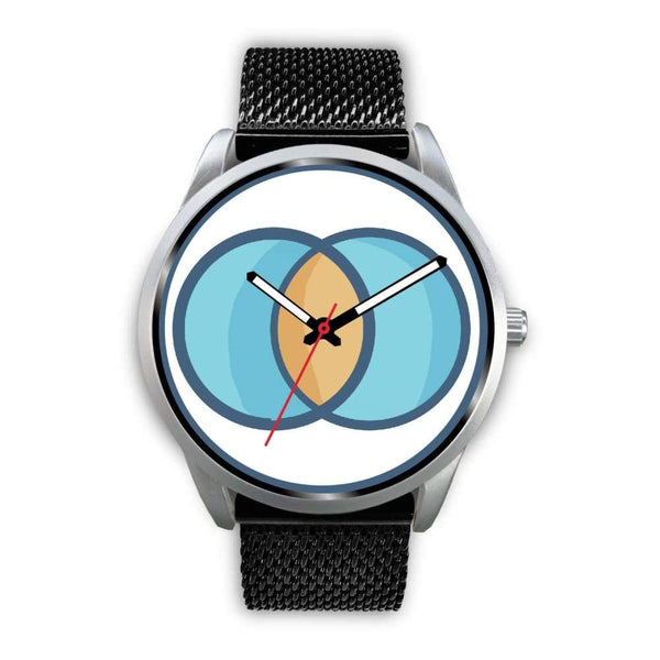 Vesica Piscis Christian Symbol Custom-Designed Wrist Watch - Mens 40Mm / Black Metal Mesh - Silver Watch