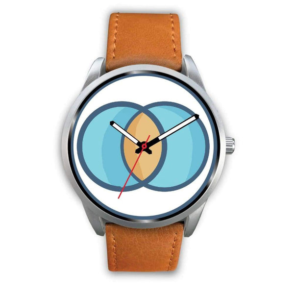 Vesica Piscis Christian Symbol Custom-Designed Wrist Watch - Mens 40Mm / Brown Leather - Silver Watch