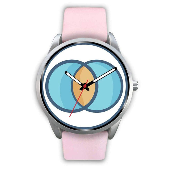 Vesica Piscis Christian Symbol Custom-Designed Wrist Watch - Mens 40Mm / Pink Leather - Silver Watch