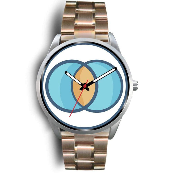 Vesica Piscis Christian Symbol Custom-Designed Wrist Watch - Mens 40Mm / Rose Gold Metal Link - Silver Watch
