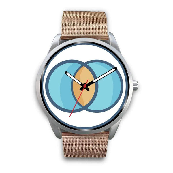 Vesica Piscis Christian Symbol Custom-Designed Wrist Watch - Mens 40Mm / Rose Gold Metal Mesh - Silver Watch