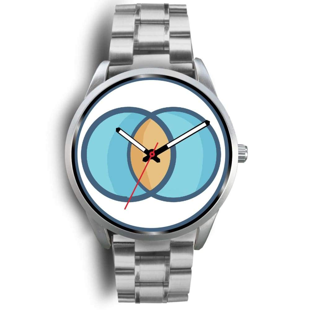 Vesica Piscis Christian Symbol Custom-Designed Wrist Watch - Mens 40Mm / Silver Metal Link - Silver Watch