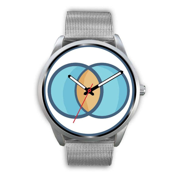 Vesica Piscis Christian Symbol Custom-Designed Wrist Watch - Mens 40Mm / Silver Metal Mesh - Silver Watch
